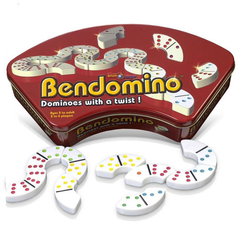 Bendomino set, curved plastic domino pieces easy grip large dots, 28 pieces, white background with coloured dots, size  (l) 6cm x (w) 2cm x (h)