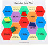 Decades Floor Mat Quiz, colourful PVC mat with questions and bean bags, Set includes:  Durable wipe-clean, lie-flat plastic mat 4 x differently coloured beanbags 150 question cards Size: Mat 95cm x 95cm. Wipe clean PVC. Rolls for easy storage.