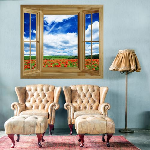 Picture of 'Through The Window' Wall  Mural - Poppies