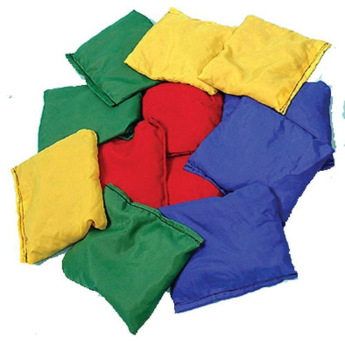 Bean Bag (single), lightweight wipe clean cover, assorted colours (red, blue, yellow, green),  natural bean filling, size: 13cm x 11cm