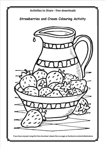 Picture of Strawberries and Cream Colouring Activity