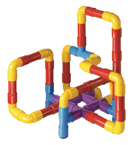 Pipeline Puzzle, 40 assorted tactile plastic pieces in assorted colours and shapes to fit in endless designs, Size: Box (w) 34cm x (h) 29cm x (d) 8cm.