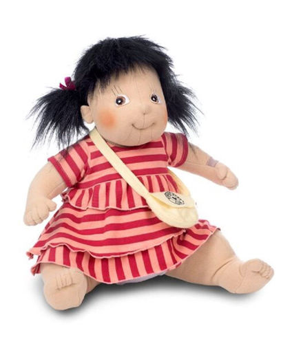 Empathy Doll Maria, soft bodied doll for dementia therapy, image shows doll with pale skin and black hair and dark eyes, wearing pink striped dress with little shoulder bag, Size: (l) 50cm. Weight: 1kg. Clothes are machine washable on a low temperature. Doll sponge clean.