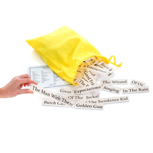 Match the Film Titles game, wipe clean plastic tiles with large bold print to match,Set includes:  30 film title tiles (split in two, so makes 60 in total) laminated answer card yellow cotton drawstring bag Tile size: (l) various (w) 3cm x (h) 0.3cm.