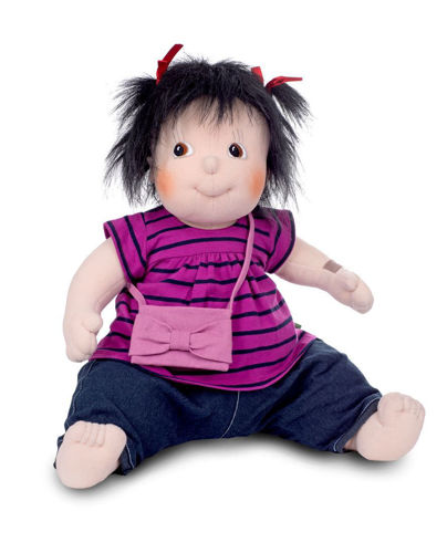 Empathy Doll Meiya, soft bodied doll for dementia therapy, image shows doll in sitting position, black mid length hair and dark eyes, wearing a purple/blue striped top and blue jeans with a little pink shoulder bag, Clothes can be machine washed at 30ºC. Doll can be sponge cleaned.  Size: (l) 50cm. Weight: 1kg.