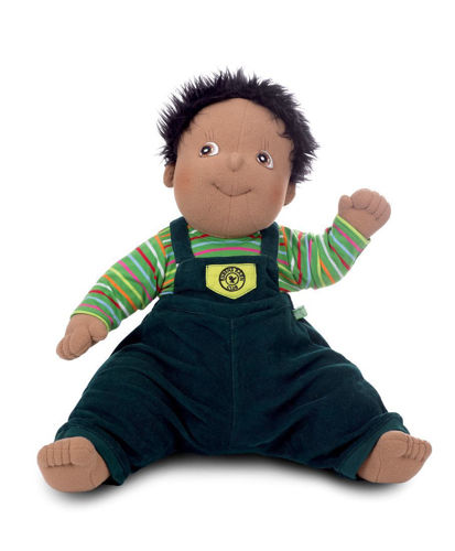 Empathy Doll - Harry, soft bodied doll for dementia therapy, image shows soft doll with short black hair and brown eyes, ethnic skin wearing green stiped tee shirt and navy corduroy dungarees, Size: (l) 50cm. Weight: 1kg. Machine washable clothes on a low temperature. Doll sponge clean