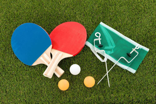 Activities to Share - Table Tennis Set, 2 wooden bats, three coloured balls and green net