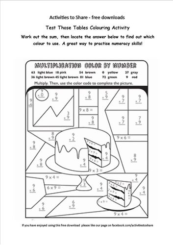 Picture of Test Those Tables Colouring Activity