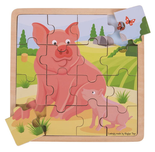 Picture of 16 Piece Wooden Puzzle - Pig and Piglet