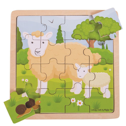 Picture of 16 Large Piece Wooden Puzzle - Sheep & Lamb