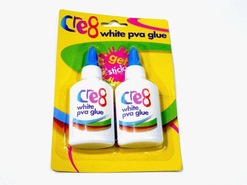 "<img src = ""White PVA Glue (Set of 2), two white plastic bottles with blue screw on caps, colourful text on bottles, housed on yellow card with clear plastic front, size 10.5cm x 4cm"">"