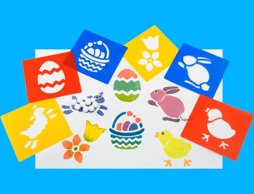 "<img src = ""Springtime Stencils, pack of 6 assorted styles, easter egg (red), eggs in basket (blue), rabbit (blue), chick (red), flower (yellow) and lamb (yellow), washable plastic, size 15cm x 14cm"">"
