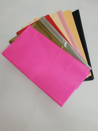 "<img src = ""Coloured Tissue Paper (12 sheets), coloured tissue paper sheets splayed out in a fan shape, pink brown grey red cream pink black peach, on grey background"">"