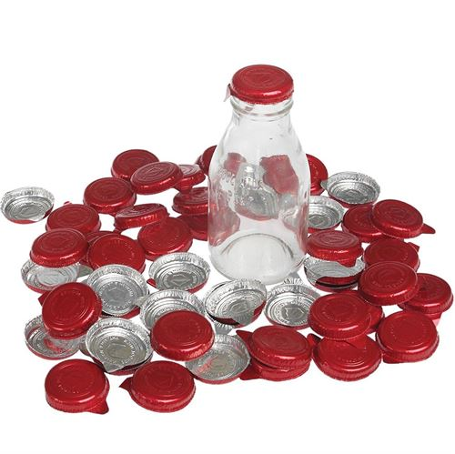 Picture of Red Milk Bottle Tops (Pack of 50)