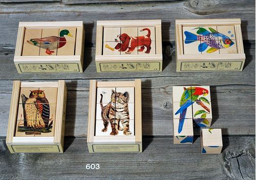 Picture of 6 Piece Wooden Cube Puzzle - Animals
