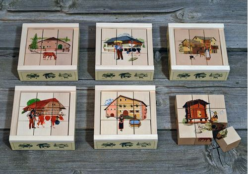 Picture of 9 Piece Wooden Cube Puzzle - Swiss Houses