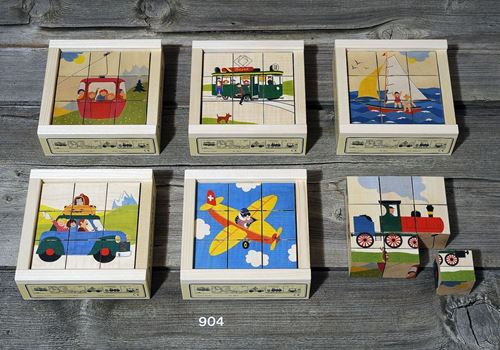 Picture of 9 Piece Wooden Cube Puzzle - Transportation