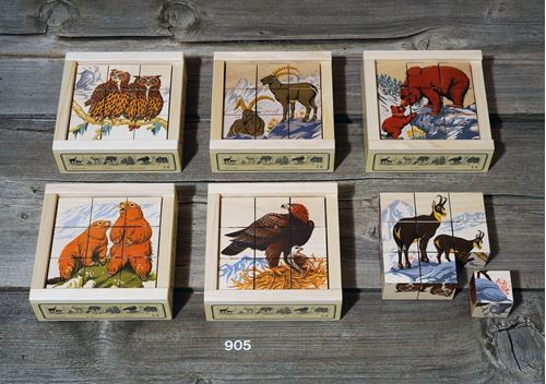 Picture of 9 Piece Wooden Cube Puzzle - Alpine Animals