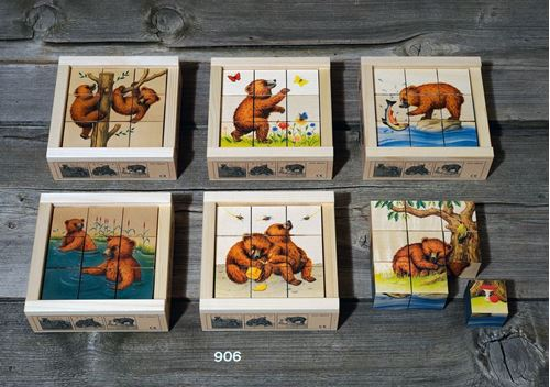 Picture of 9 Piece Wooden Cube Puzzle - Bears