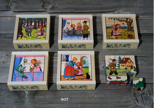Picture of 9 Piece Wooden Cube Puzzle - Red Riding Hood
