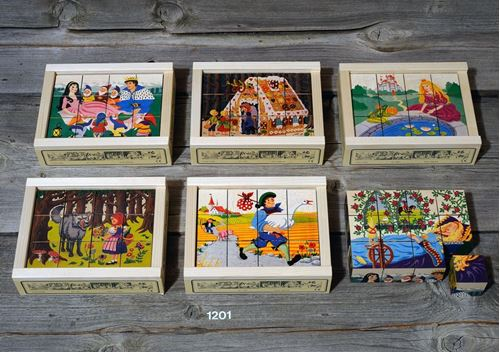 Picture of 12 Piece Wooden Cube Puzzle - Fairy Tales
