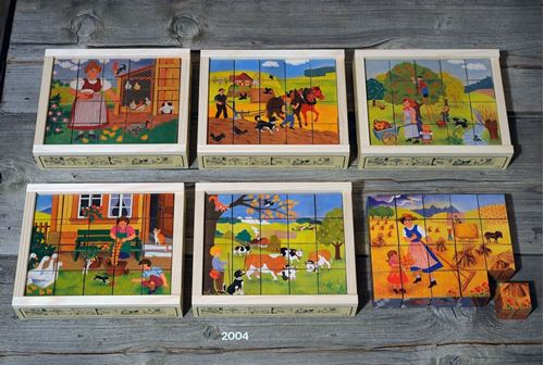 Picture of 20 Piece Wooden Cube Puzzle - Farmyard