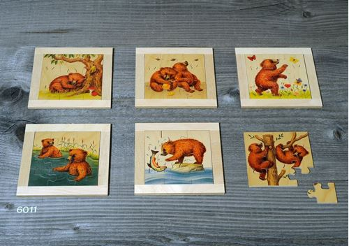 Picture of 9 Piece Wooden Puzzles (Set of 6 - Bears)