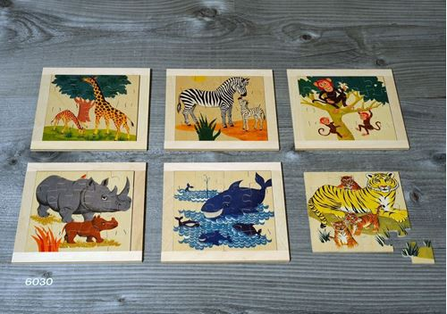 Picture of 16 Piece Wooden Puzzle (Set of 6 - Wild Animals)