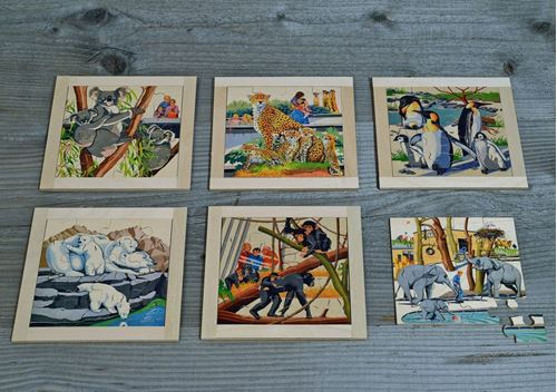 Picture of 16 Piece Wooden Puzzle (Set of 6 - Zoo)