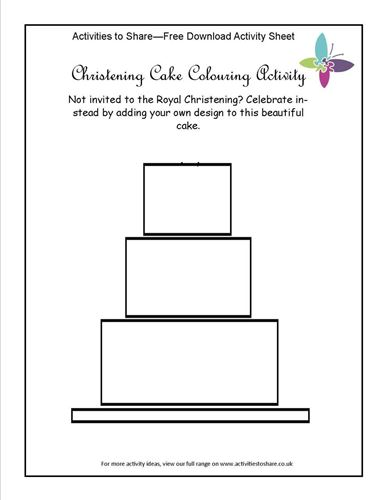 Picture of Christening Cake Colouring Activity
