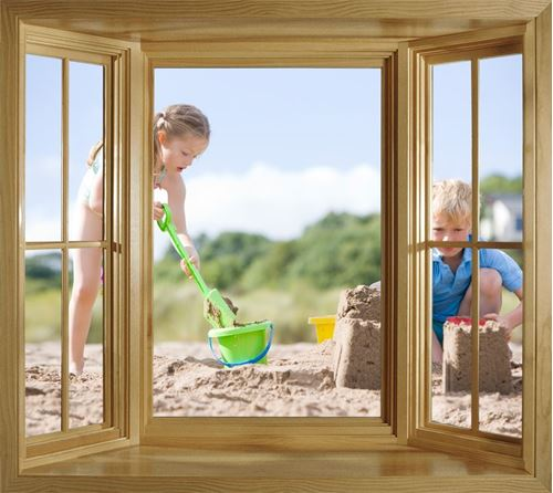 Picture of Through the Window Wall Mural - Building Sandcastles