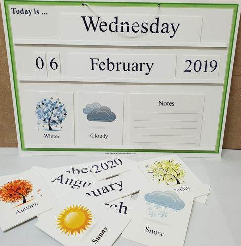 Board showing date and weather