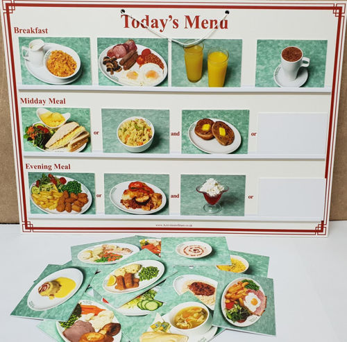 Menu board for care home