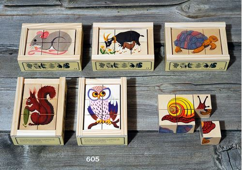 Picture of 6 Piece Wooden Cube Puzzle - Animals 2