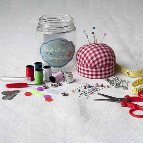 Picture of Vintage Sewing Kit in a Jam Jar
