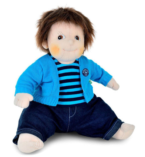 Empathy Doll-Emil, soft bodied doll for dementia therapy, image shows soft doll with brown eyes and brown short hair, wearing blue cardigan and blue striped teeshirt and blue jeans in a sitting position, Size: (l) 50cm. Weight: 1kg. Doll: Sponge clean. Clothes: machine washable (30ºC) and can be tumble dried on a low temperature. Clothes are removable and can be hand washed.