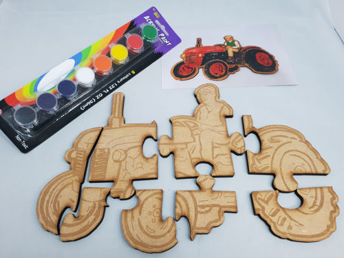Picture of Hand Crafted Wooden Puzzle - Paint Your Own Tractor (8 Pieces)