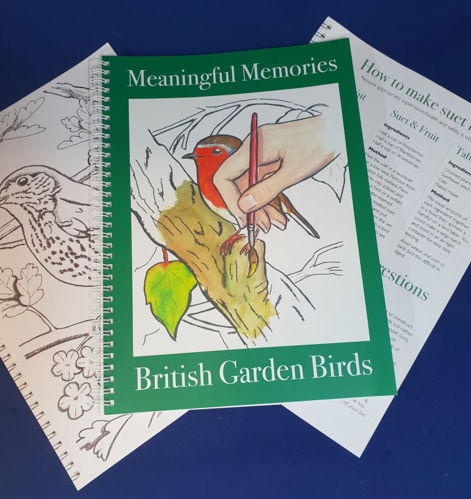 Meaningful Memories Project Book - Garden Birds, bold native bird images to colour with information and projects,20 pages, size: A4