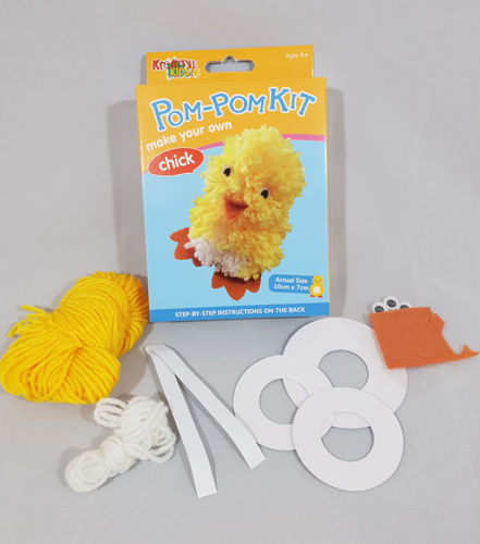Pom Pom Kit - Animal, Fun pom pom kit with everything you need to make this adorable woollen chick, owl, bunny or ladybird.  Kit contains card pom pom circles, wool, felt feet, beak or spots and googly eyes. Size: Makes a figure measuring approx. (h) 10cm x (w) 7cm.