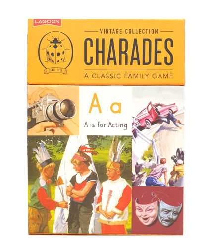 "<img src = ""Charades game, boxed game of cards, mustard coloured box with black text includes  retro Ladybirds books images of characters and items, size 14.5cm x 10.5cm x 3cm"">"