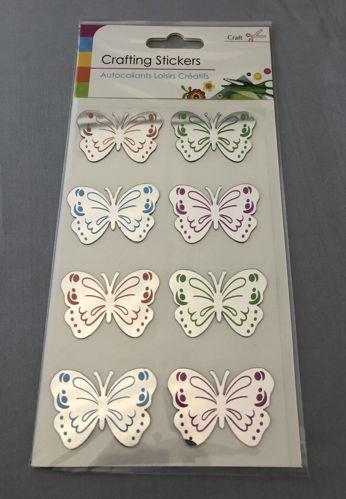 """<img src = Activities to Share Butterfly Mirror Stickers pack of 8, self-adhesive mirrored butterfly shaped craft accessories in a clear packet, mirrored stickers with 2 x brown 2 x green 2 x blue and 2 x purple markings """">"""