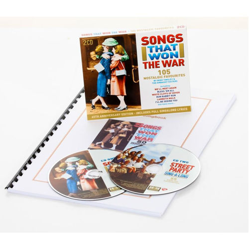 """<img src=""""Songs That Won The War 2 x CD & Songbook Set, wartime soldier hugging 2 girls on CD case with spiral bound A4 large print songbook, 50 medleys from the 1940s"""">"""