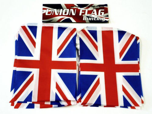 """<img src = """"Union Jack Bunting 5 metre, red white and blue rectangle flag, size 23cm x 15cm, material pvc, housed in clear hanging bag"""">"""
