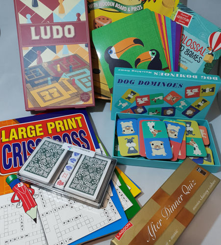 Boredom Box Set assorted board games set, ludo cards quiz large print crossword table top games, colourful boxes of assorted sizes, seven games in set