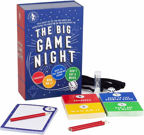 "<i "" img src = The Big Game Night assorted table top game pack, mixed games including Charades, Who Am I?, Back To The Drawing Board,  Don't Say A Word, pack includes dice timer pencils answer pad headbands"