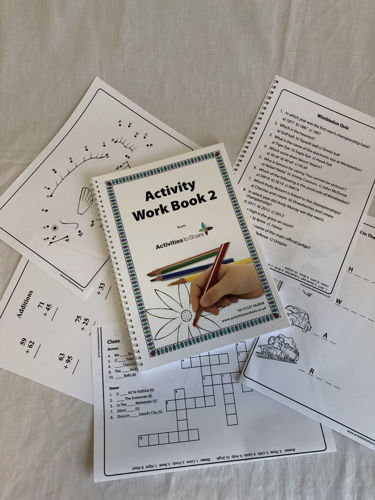 """<img sr = """" Activities to Share Activity Work Book 2,  A4 spiral bound loose leaf book, activities including large print word search crossword dot to dot numeracy puzzles, 65 pages, 29.5cm x 21cm"""">"""