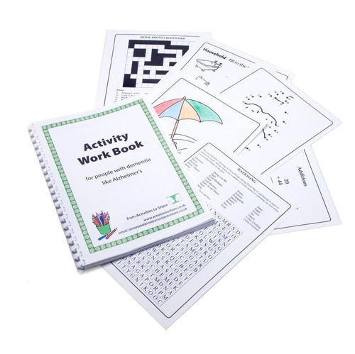 "<img src = "" Activities to Share Activity Work Book c,  A4 spiral bound loose leaf book, activities including word search crossword dot to dot numeracy puzzles, 75 pages, 29.5cm x 21cm"">"