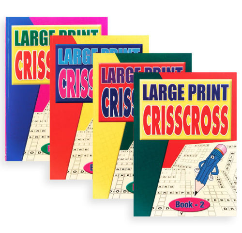 "<img src = "" Large Print Criss Cross Books, set of four assorted, shows assorted softback books with white pages and bold black lettering , A4 size each, colourful outer covers"">"