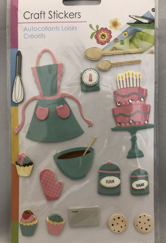 "<img src = ""Baking Embellishment Set, fifteen various pastel coloured stickers with a baking theme, includes apron cakes wooden spoon scales cookies etc,  clear hanging pack with white card backing"">"