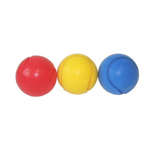 Soft Tennis Balls, set of three assorted, one each red blue yellow, lightweight, washable, size 7cm dia